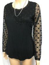 GRACE HILL SIZE 10,BNWT BLACK  LONG LACE SLEEVES AND BODICE TOP