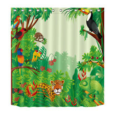 "72"" Cartoon Jungle Animal Tiger Fabric Shower Curtain Liner Kids Bathroom Decor"