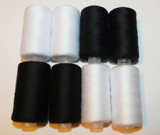 2400 Yards 100% Polyester All-Purpose Black / White Sewing Thread - 4 Pack
