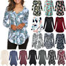 Women Button Plus Size Tunic T-Shirt Casual Tops Blouse Long Sleeve Loose Shirt