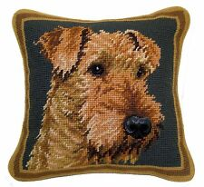 "Airedale Needlepoint Pillow 10""x10"" NWT"