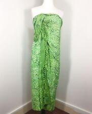 Bright Green Batik Rayon Sarong Scarf Wrap w/Fringe Swimsuit Cover  Beach EUC