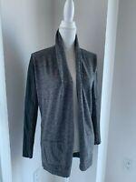Theory Gray & Black Wool Draped Cardigan w/ Black Leather Sleeves SZ XS P