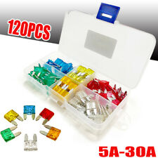 120Pcs Mini Blade Fuse w/ Box Car Auto Motorcycle Apm Suv Assortment Kit 5A-30A
