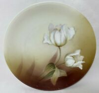 """RS Germany Porcelain Plate White Floral Brown Yellow Background 6 3/8""""W Vintage"""