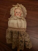 1800's German Musical Marotte Bisque Head Doll w/Wood Handle RARE/LOCK OF HAIR!