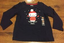 "Gymboree Baby Girl 18-24M Navy ""Warm Winter Wishes"" Snowman Long Sleeve Top"