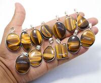 Beautiful Sale Natural Tigers Eye Sale Gemstone Silver Plated Bezel Pendants