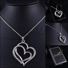 Edle Kette Halskette *Großes Herz*, Weißgold pl., Swarovski Elements, inkl. Etui