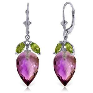 Genuine Amethyst & Peridot Gemstones Dangle Leverback Earrings In 14K Solid Gold