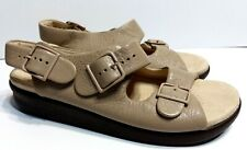 SAS Womens 9.5 W Relaxed Tripad Comfort Beige Pebbled Sling Back Sandals Straps