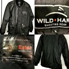 Wild Hare Leather trim Shooting Coat Black Size Small Recoil Pocket