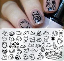 Harunouta-L015 Nail Art Stamping Image Plate Template Cute Cat Design 12*6cm