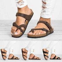 Fashion Women's Slide Buckle Sandals T-Strap Cork Footbed Shoes Flat Size 35-44