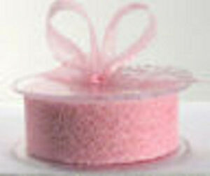 38mm Mesh Ribbon - Pink - 1/5/10/20 metre/roll wedding / craft / invitation