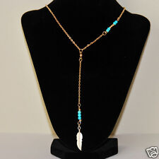 Women's Fashion Designer's Turquoise Beads & Leaf Pendant Gold Plated Necklace