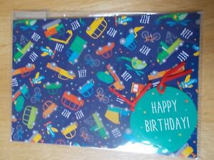 BLUE MULTICOLOUR CAR DESIGN GIFT WRAP & ROUND SHAPED TAG SET - 2 SHEETS & 2 TAGS