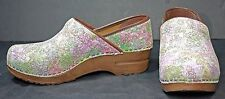 Sanita Womens Clogs sz 6.5 / 7 Leather Multi-Color Pastel Shoes Dansko WH34
