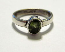 Elegant Genuine Peridot Gemstone Silver Plated Ring Size 6.75     PR162