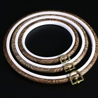 3x Embroidery Hoops Cross Stitch Hoop Ring Imitate Wood Circle Set Display Frame