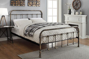 Victorian Style Metal Bed Frame Brushed Brass Single Small Double Double King
