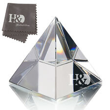 """H&D Feng Shui Egypt Egyptian Crystal Clear Pyramid Healing Prizm Amulet 3.5"""" H"""