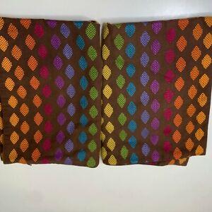 pillow sham pair brown multicolored geo design zip closure crate & barrel cotton