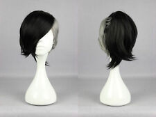 Schwarze gewellte kurze Perücken & Haarteile aus Echthaar-Kunst