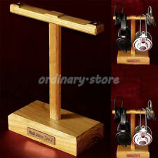 Dual Headset Stand Solid Wooden Earphone Hanger Holder Headphone Display Rack