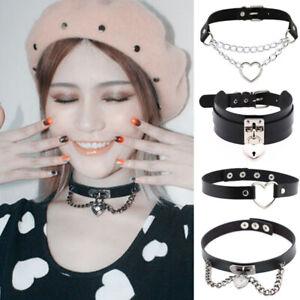 Women Punk Sexy Gothic Pu Leather Goth Heart Cross Choker Necklace Jewelry
