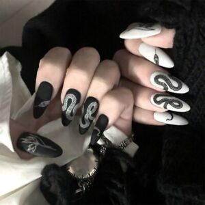 Punk Gothic Snake Pattern Fake Nails Full Extensions False Artificial Nails Tips