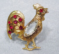 Vintage 12K Gold Filled Repousse Rooster Rhinestone Pin Brooch DS-30