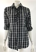 Kenneth Cole Womens Tunic Top Size 4 Black White Plaid Roll Tab Sleeve Button Up