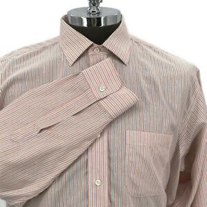 Brooks Brothers Regent Dress Shirt Button Front Non Iron Orange Mens Size 17/34