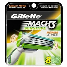Gillette Mach3 Sensitive Power Refill Razor Blades, 8 Cartridges