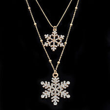 Fashion Womens Crystal Snowflake Flower Chain Pendant Necklace Christmas Jewelry