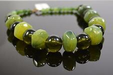 "Green Large Stones Necklace 16"" S15-"