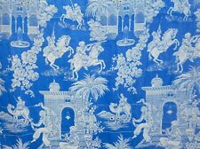 Antique French Prussian Blue Ticking Damask Cotton Fabric #2~ Persian Design