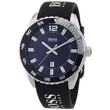 BRAND NEW MENS HUGO BOSS (1512887) BLACK SILICONE STRAP BLUE DIAL SPORT WATCH