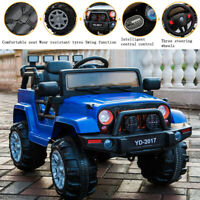 12V Electric Kids Ride on Truck Battery Powered Jeep Car W/Remote Control Blue
