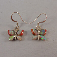 .925 STERLING SILVER WHITE OPAL AND CORAL BUTTERFLY EARRINGS
