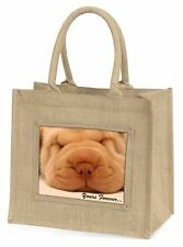 Shar-Pei Puppy 'Yours Forever' Large Natural Jute Shopping Bag Christ, AD-90yBLN
