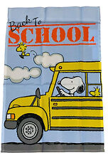 "PEANUTS SNOOPY DRIVES SCHOOL BUS BACK TO SCHOOL FLAG~SIZE 12"" x 18""~NEW"