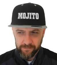 Chapeau Mojito, SnapBack Casquette noir visière gris, Logo Cocktail Bar Pub