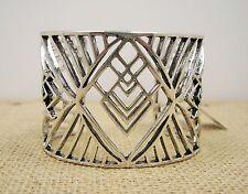 Lucky Brand Openwork Tribal / Art Deco  Silver Tone Wide Cuff Bracelet MSRP $75