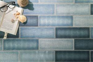 Modern 4X12 Blue Subway Multi-Pattern Glossy Porcelain Tile MTO0453