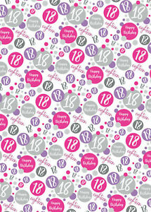 2 Sheets 18th Birthday Wrapping Paper Age 18 Gift Wrap Female Pink & White (PA)