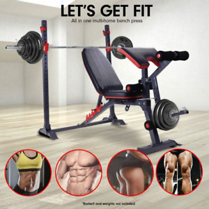 Weight Bench Press Multi-Station Fitness Incline Equipment Black Home Gym AU