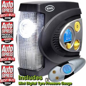 Ring RAC635 12v Preset Automatic Digital Car Tyre Air Compressor Inflator + RTG4
