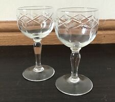 Pair of vintage sherry glasses with cut / etched detail